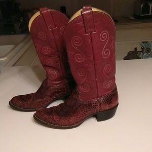 Justin Purple Snake skin boots